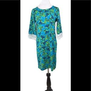 Tracy Negoshian Blue & Green Floral Fish Dress